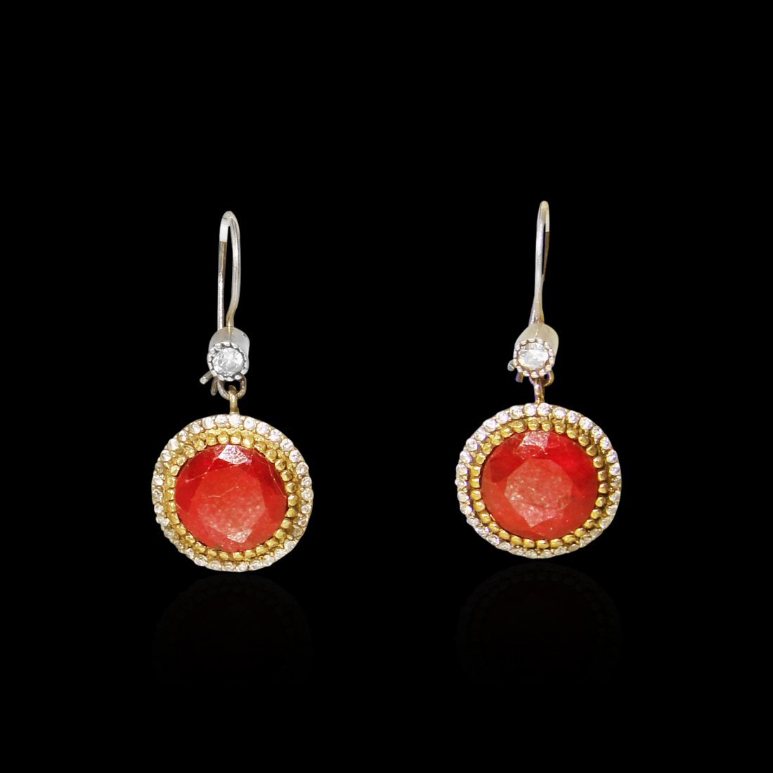 A Pair of Round Shaped Ruby Sterling Silver Earrings