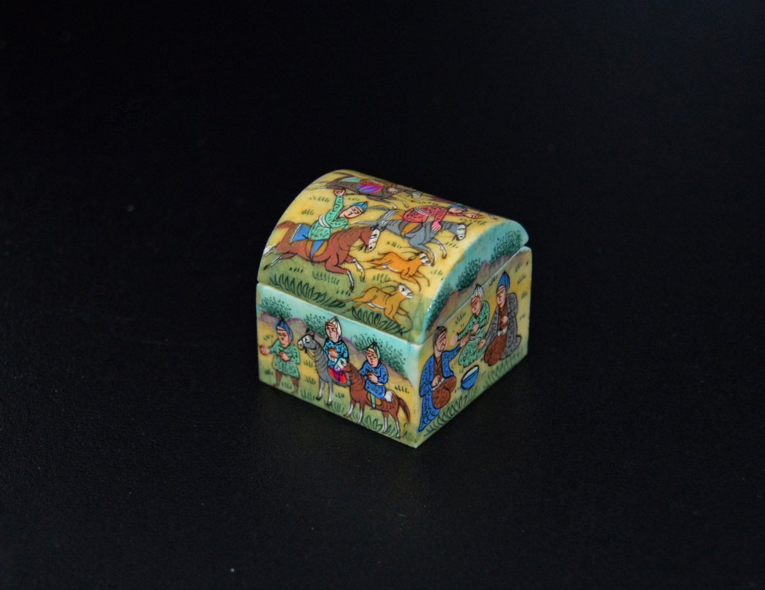 A Persian Camel Bone Enamel Painted Box Iran