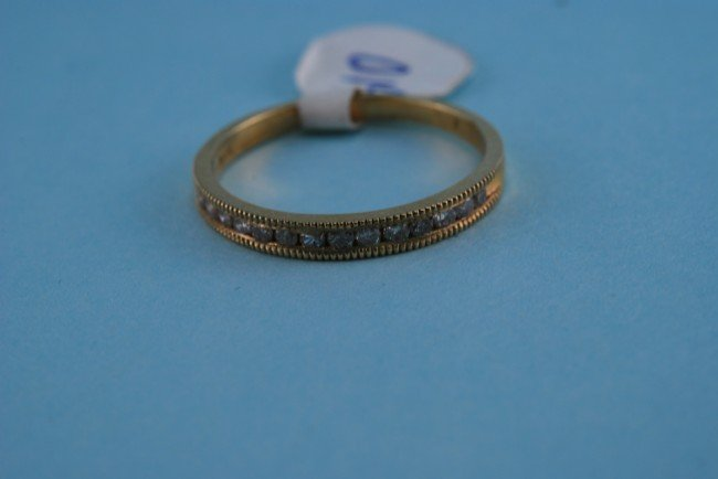 22: 417 Yellow Gold Diamond Channel Ring. Solid gold. 1