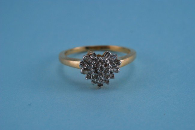 24: 417 Yellow Gold Diamond Heart Ring. Solid Gold. 2.5