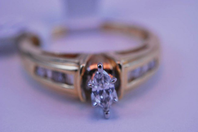 2: Tray#1B 14k Marquis Diamond Engagement ring .65 CT w