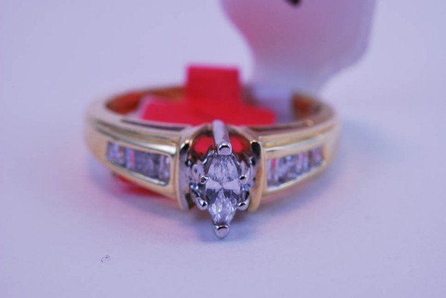 4: Tray#1B 14k Marquis Diamond Engagement ring .62 CT w