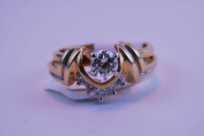 11: Tray#1B 14k Diamond Engagement Rnd Solitare & 5 Dia