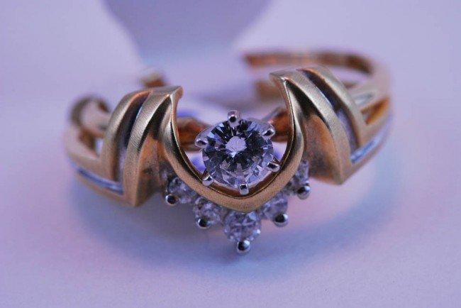12: Tray#1B 14k Diamond Engagement Rnd Solitare & 5 Dia