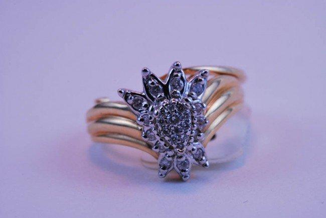 13: Tray#1B 14k Diamond Engagement set multi dia. Est $