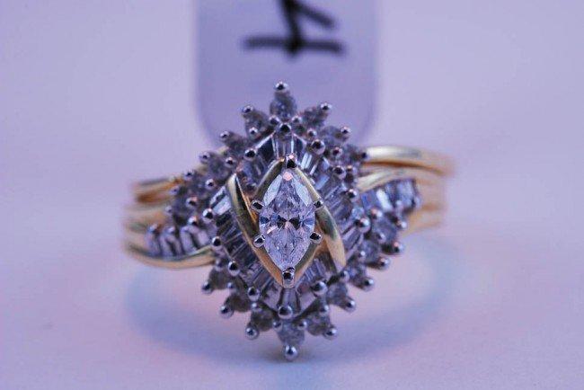14: Tray#1B 14k Marq Ctr Diamond Engagement set w/multi