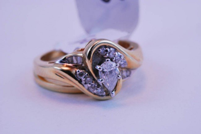 23: Tray#1B 14k  Prnc Ctr Dia Engagement ring .60 CT =/