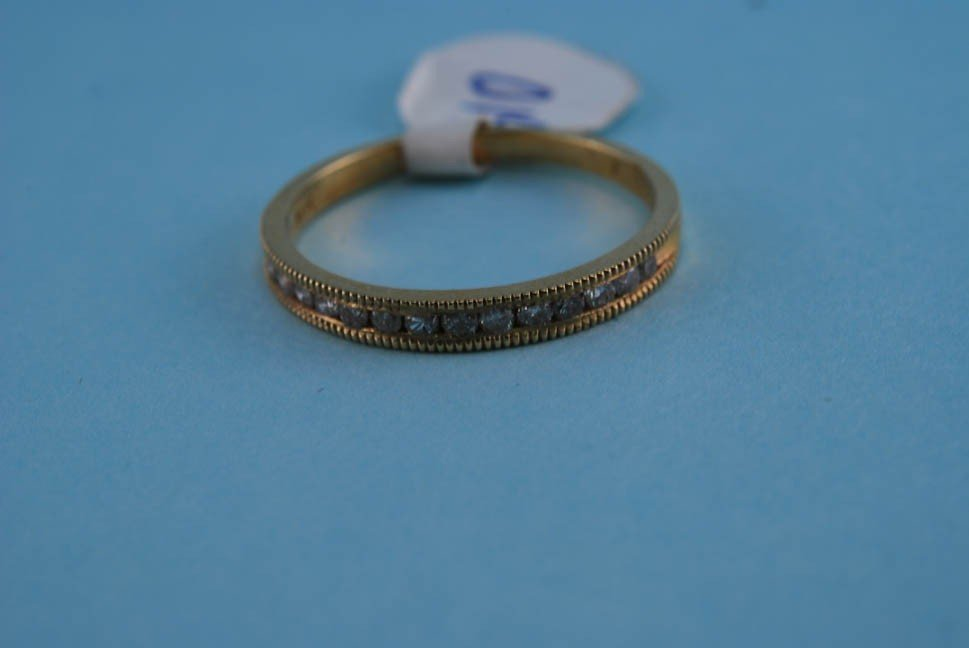 2: 417 Yellow Gold Diamond Channel Ring. Solid gold. 1.