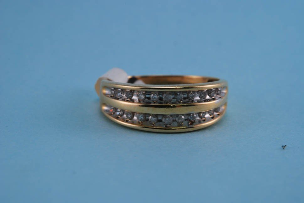 13: 417 Yellow Gold Diamond Channel Ring. Solid Gold. 2