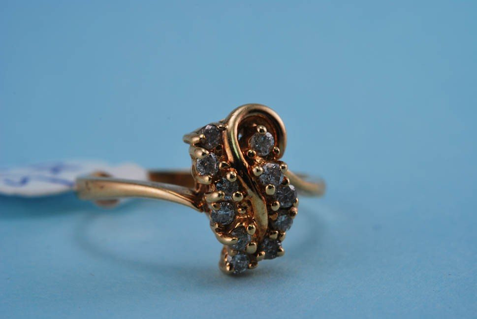 17: 417 Yellow Gold Diamond Cocktail Ring. Solid Gold 2