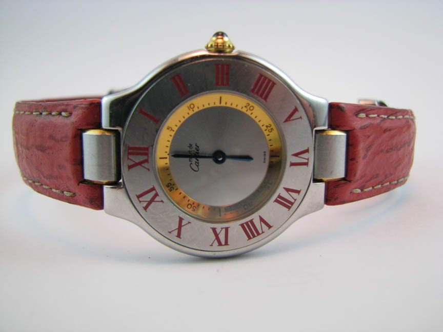 21: Must de Cartier 21 with Red Roman Numeral Dial & Re