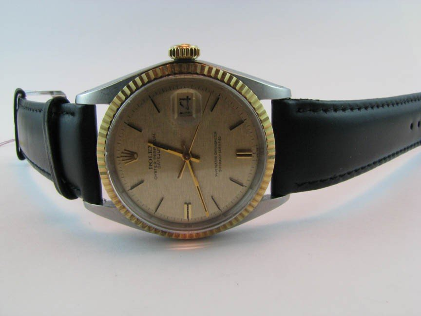 23: Rolex DateJust 18K/SS w leather band