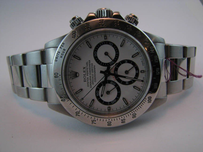 28: Rolex Stainless  Daytona with white dial SS band Al
