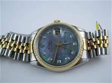 44 Rolex Mens 18KSS Oyster Perpetual datejust MOP AM