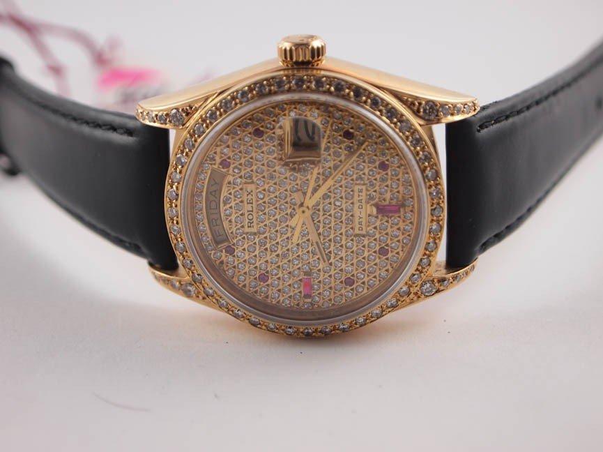 1: Rolex Mens 18k President w Custom AM Diamonds
