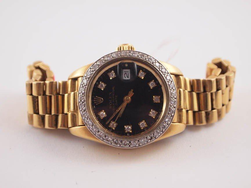 5: Rolex Ladies 18k Date w Custom AM Dia Dial & Bezel.