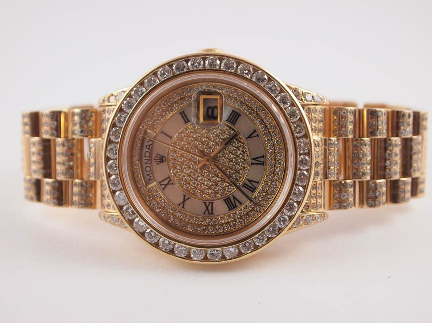 20: Rolex Mens 18k President w AM Custom Diamonds.