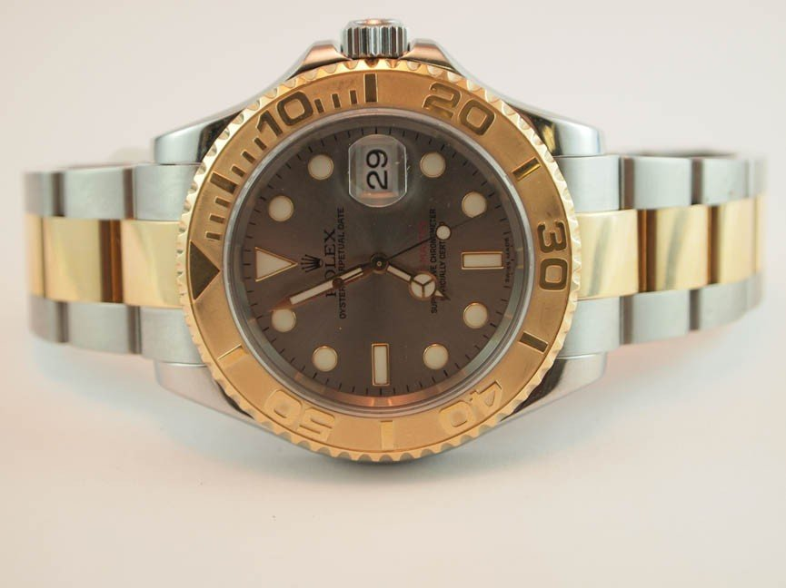 21: Rolex Mens Yachtmaster. 18K and SS w Box and Papers