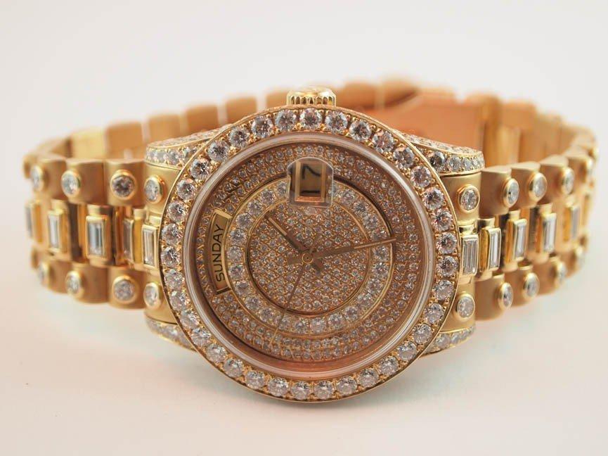 24: Rolex Mens 18k President w 14 Carats Custom Diamond