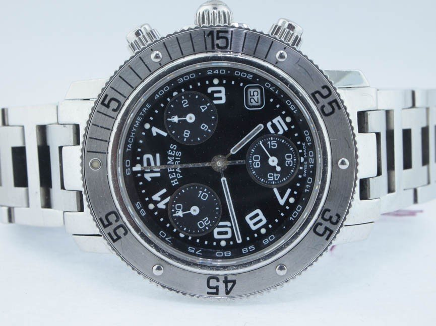 2: Hermes Midsize Stainless Steel Chronograph.