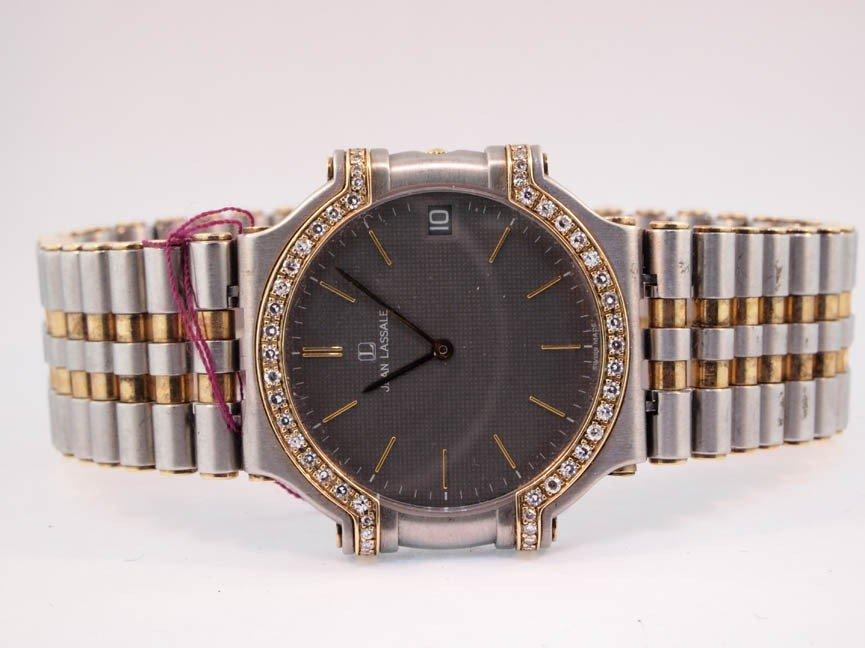 6: Jean Lasalle Mens Diamond and 14k Gold Watch