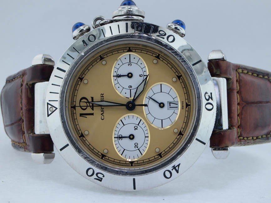 13: Cartier Mens Stainless Steel Pasha Chronograph
