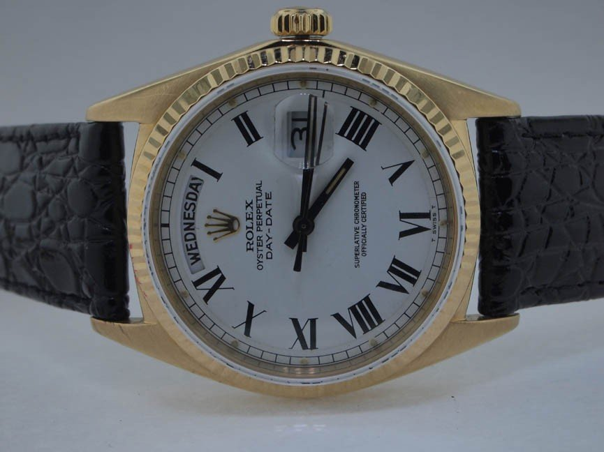 20: Rolex Mens 18k Day-Date with Leather Strap