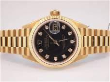 144: Rolex Ladies 18k Gold President. Original Diamond