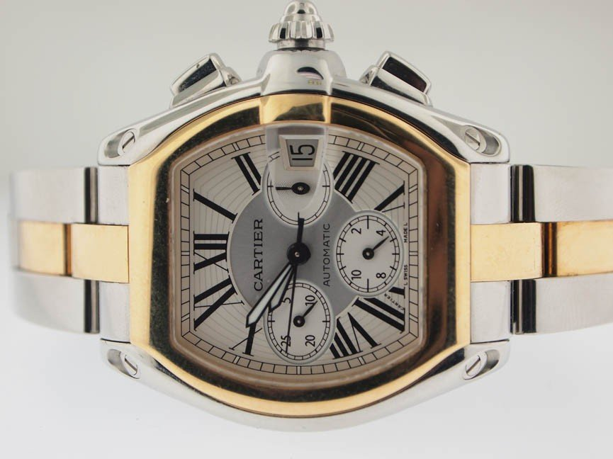 17: Cartier Mens 18k and SS Roadster Chronograph.
