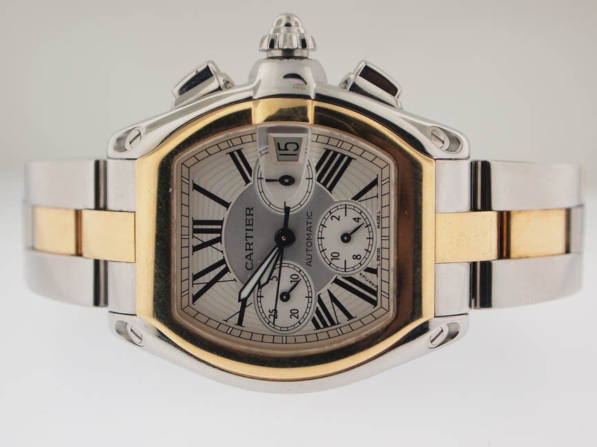 17: Cartier Mens 18k and SS Roadster Chronograph. - 2