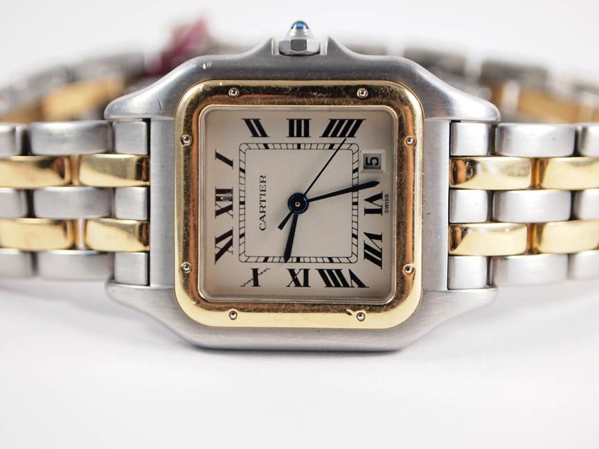 19: Cartier Midsize Ladies 18k and SS Panthere. 2 Rows.