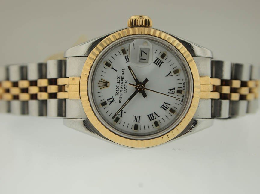 20: Rolex Ladies 18k and SS Oyster Perpetual Date. Sapp
