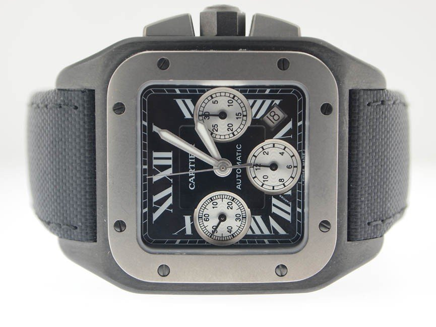 138: Cartier Mens Jumbo Santos 100 Chronograph Titanium