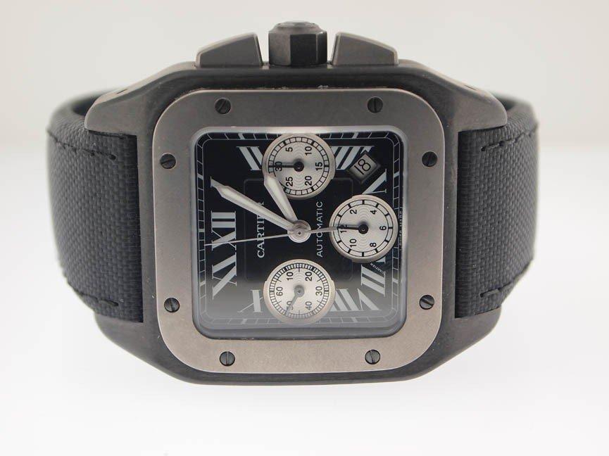 138: Cartier Mens Jumbo Santos 100 Chronograph Titanium - 2