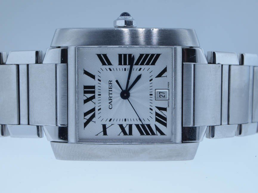 6: Cartier Mens Stainless Steel Tank Francaise.