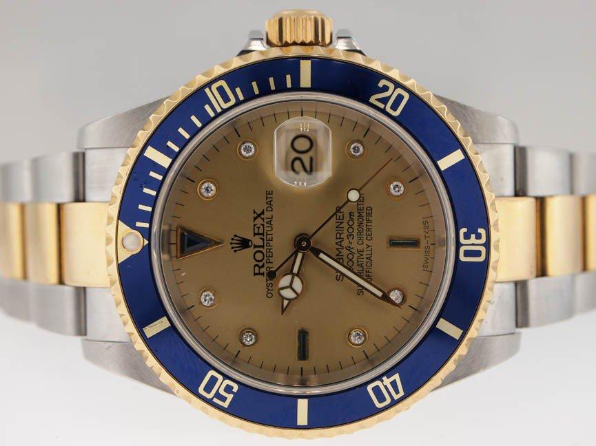 10: Rolex Mens 18k & SS Submariner. PAPERS. Diamond Dia