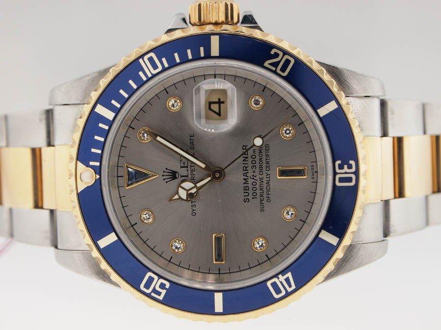 12: Rolex Mens 18k & SS Submariner. Orig Diamond Dial.
