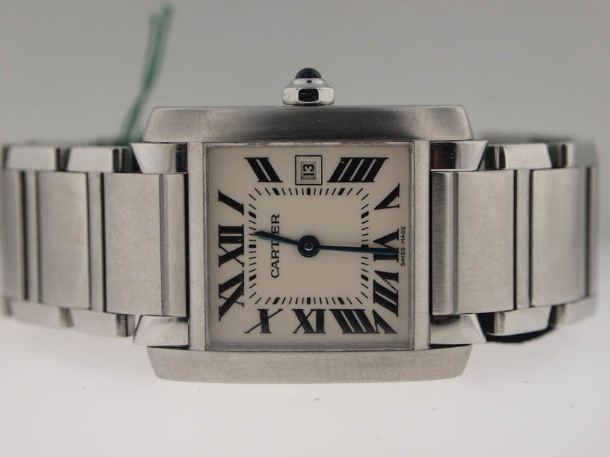16: Cartier Midsize Stainless Steel Tank Francaise.