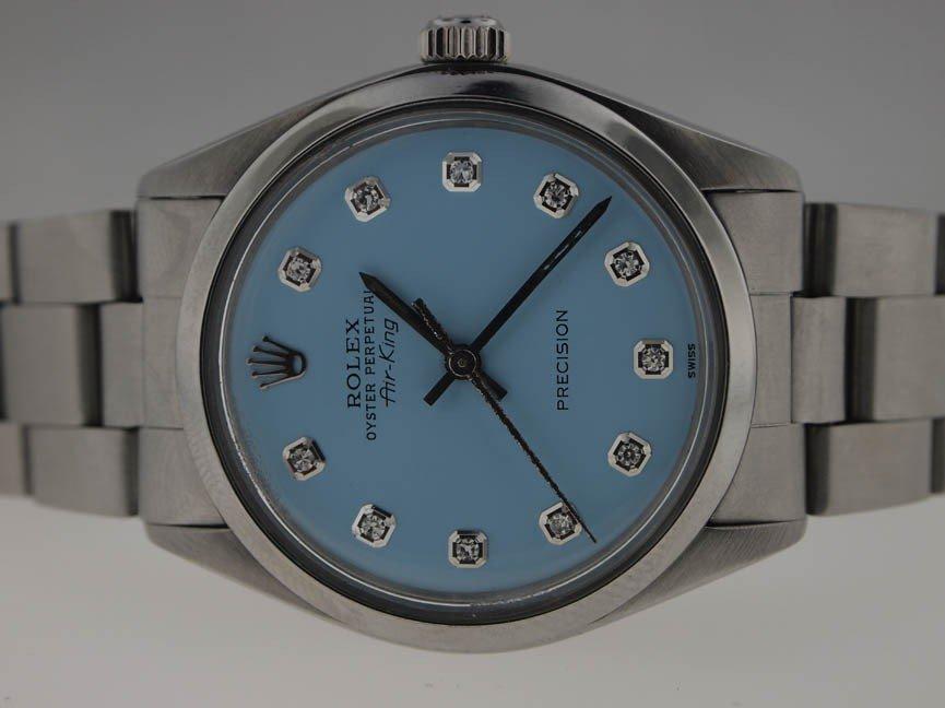 21: Rolex Mens SS Vintage Airking. Diamond Dial.