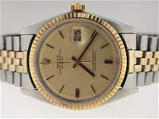 86 Rolex Mens 14k and SS Vintage Datejust