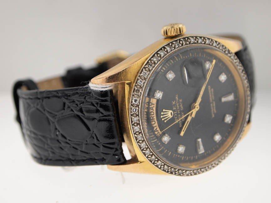 6: Rolex Mens 18k Gold President. Diamond Dial/Bezel.