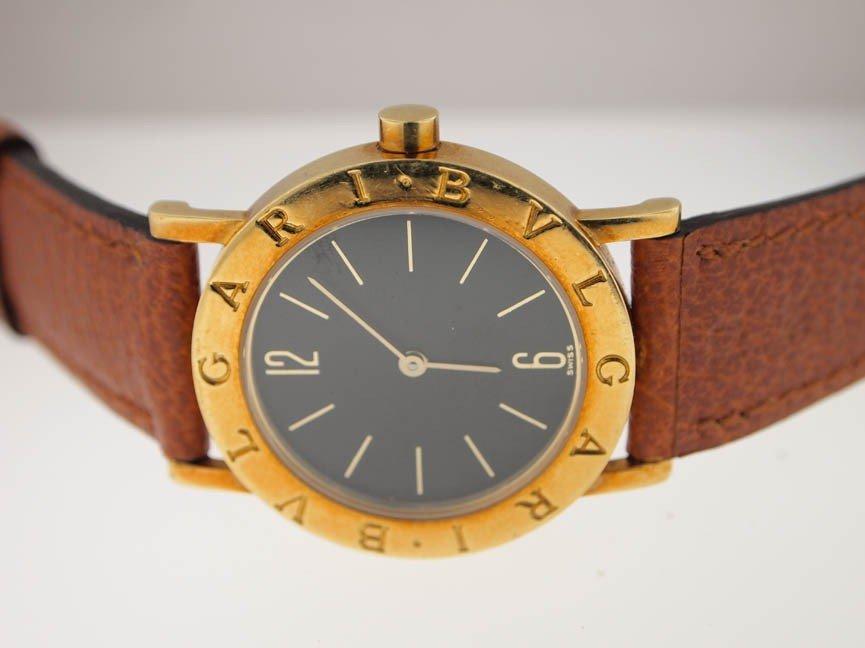 11: Bvlgari Midsize 18k Gold Bvlgari. Leather Strap.