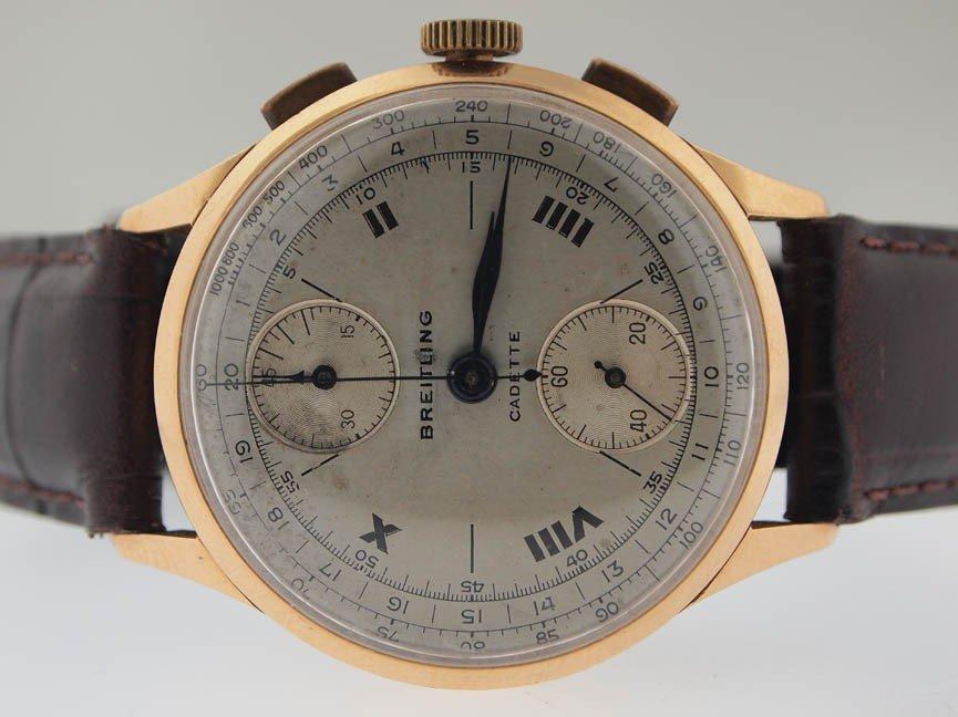 13: Breitling Mens 18k Gold Vintage Chronograph.