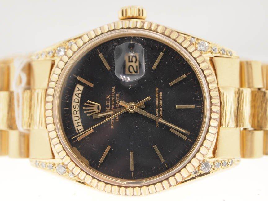 15: Rolex Mens 18k Gold President. Diamond. Bark Bracel