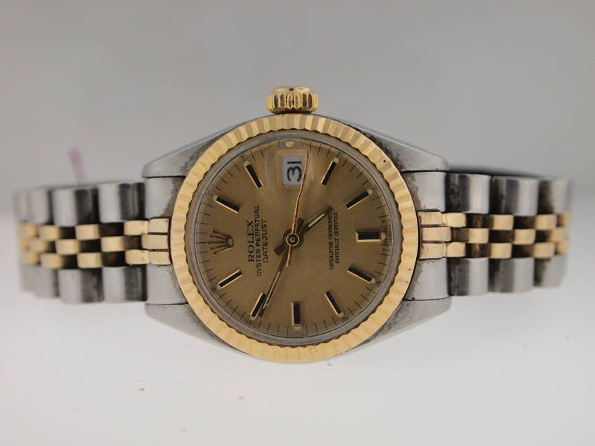 22: Rolex Ladies 18k and SS Datejust. Hash Dial.