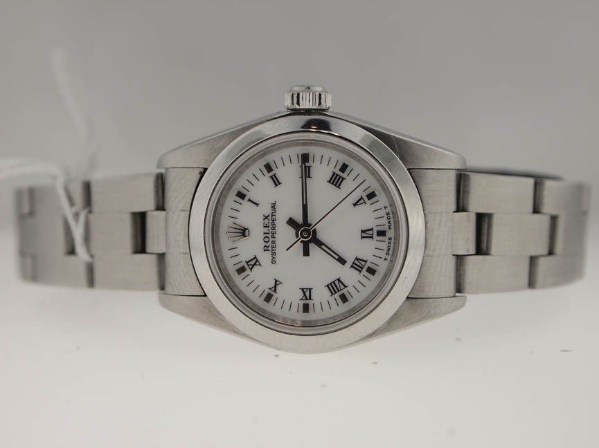 23: Rolex Ladies SS Oyster Perpetual. Roman Dial.