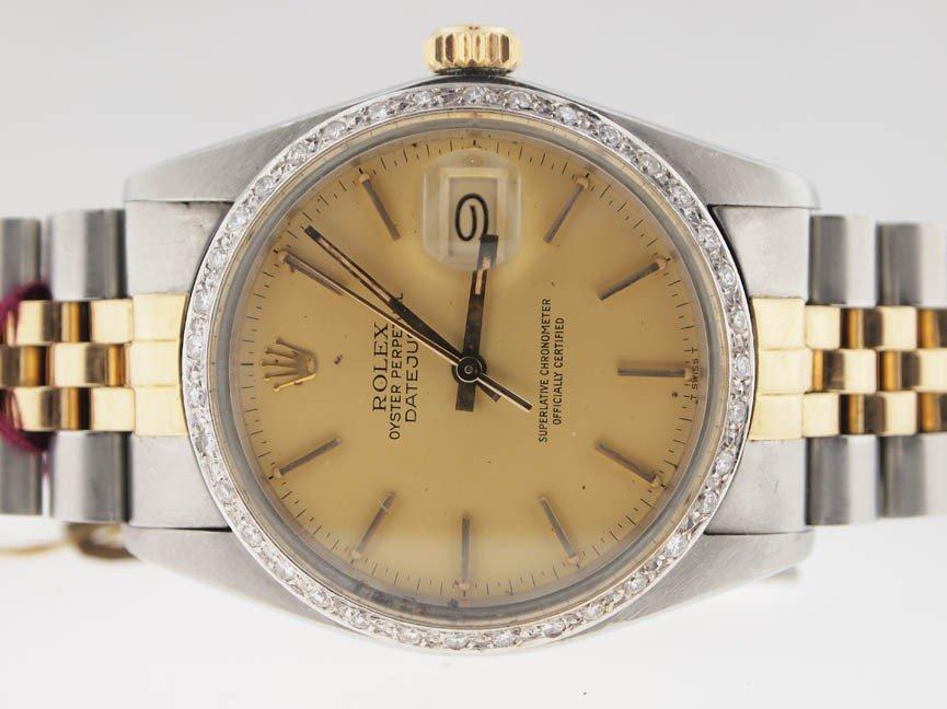 25: Rolex Mens 18k and SS Datejust. Diamond Bezel.