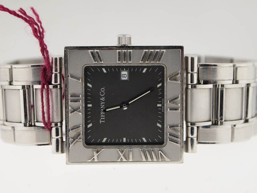 76: Tiffany & Co Stainless Steel Watch. Roman Numeral.