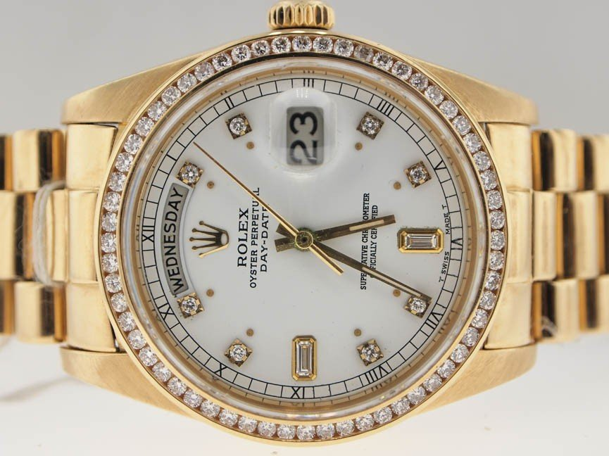 96: Rolex Mens 18k President. Quickset. Diamond Dial/Be