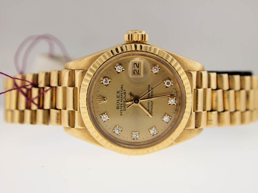 6: Rolex Ladies 18k President. Orig Diamond Dial.